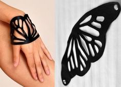 """""""Butterfly Leather Cuff ($28). Laid out, the Monarch Butterfly inspiration is clear as day, but it looks a lot more abstract on."""""""