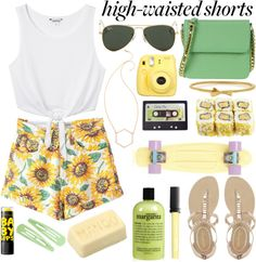A fashion look from June 2015 featuring white top, denim shorts and strap sandals. Browse and shop related looks. Polyvore Casual, Summer Outfits, Cute Outfits, Short Waist, Complete Outfits, Outfit Sets, Spring Summer Fashion, Style Guides, Polyvore Fashion
