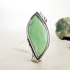 Primavera| Variscite necklace| mint green gemstone| Sterling Silver| Leaf and Twig pendant| Nature inspired jewelry