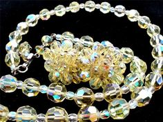 Springtime Yellow Citrine AB Crystal Quartz Set Necklace Earrings Vintage | eBay