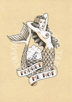 old school mermaid tattoo - Google Search