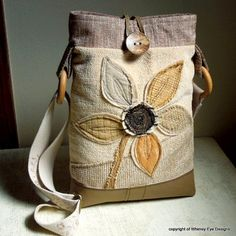 OOAK CROSSBODY HOBO Bag-Tablet Bag-Notebook Bag-Small Laptop Bag-Upcycled-Repurposed-Appliqued-Eco Friendly