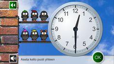 Kellonaikoja voi harjoitella myös pelaamalla. Moji Kello on suomenkielinen ja helppokäyttöinen sovellus. What Time Is, Math Classroom, Teaching, Apps, School, Projects, Log Projects, Blue Prints, App