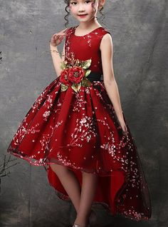 Red Dresses For Kids, African Dresses For Kids, Girls Dresses Online, Party Dresses Online, Little Girl Dresses, Gala Dresses, Kids Christmas Dresses, Kids Party Wear, Green Dress