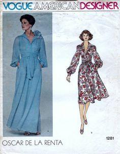 70s Vogue dress patterns 1281 bust 32.5 inches, Vogue American Designer Oscar de la Renta, vintage sewing patterns, factory folded