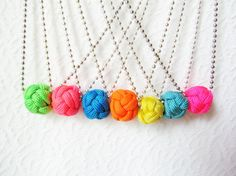 NEON Turks Knot Necklace Your Choice of Color by OllieBollen, $16.00
