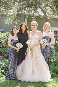 Maids in sparkle | Del Mar Wedding from We Heart Photography + Isari Flower Studio + Event Design  Read more - http://www.stylemepretty.com/california-weddings/2013/08/20/del-mar-wedding-from-we-heart-photography-isari-flower-studio-event-design/