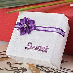 White Favor Box With Purple Lotus (Set of 12) – USD $ 9.99
