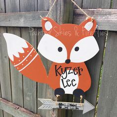 ~Woodland Fox Hospital Birth Announcement Door Hanger~ The fox is ~18 tall by ~18 wide Welcome your new born with this adorable fox door hanger! Perfect to use at your baby shower, to hang on your hospital door, and at home in their nursery! I can match invitations, bedroom decor,