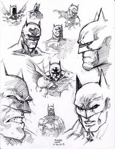 drawing superhero ball point pen flipped through my copy of Batman 'Hush' by Jim Lee and just started filling the page with head shots. i was drawing direct with only ball point pen so i was fortunate the compositio. Draw Batman, Batman Drawing, Drawing Superheroes, Drawing Cartoon Characters, Comic Drawing, Cartoon Drawings, Batman Poster, Batman Artwork, Batman Comic Art