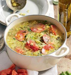Przepisy na zupy - Caldo verde Caldo, Chorizo, Cheeseburger Chowder, Curry, Ethnic Recipes, Soups, Food, Green, Meal