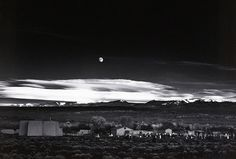 Moonrise, Hernando, New Mexico (c 1942) is perhaps the best known of all the images captured by the celebrated American landscape photographer Ansel Adams. See it in 'Drawn by Light', an exhibition of the best of the Royal Photographic Society archive, at the Science Museum Media Space  - review by https://exhibitionologist.wordpress.com/2014/12/20/review-drawn-by-light/