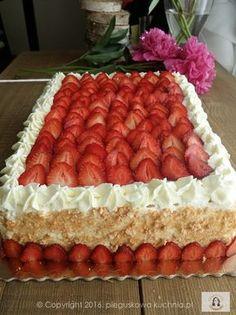 tort z frużeliną Polish Desserts, Polish Recipes, Baking Recipes, Cookie Recipes, Baking Utensils, Strawberry Cakes, Bakery Cakes, Sweet Cakes, Cake Designs