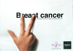 "Breast Cancer Ad  ""Beat Breast Cancer, do regular self exams. Be aware.""  by Y  via Oddee"
