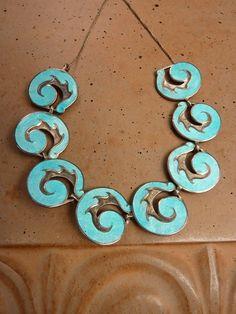Margot de Taxco Mexico Sterling Silver Aqua Blue Enamel Bracelet