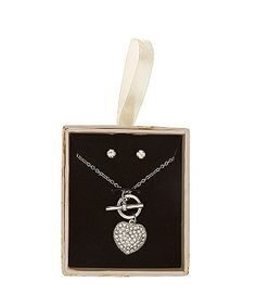 Crystal (Clear) Silver Heart Pendant and Earrings Gift Set  | 291099790 | New Look