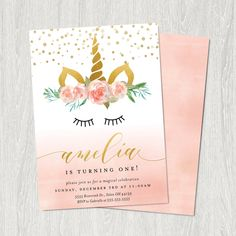 Unicorn Birthday Invitation | Unicorn Invitation | Unicorn Pink | Customizable Digital File (5x7) by paperandinkdesignco on Etsy https://www.etsy.com/listing/554685466/unicorn-birthday-invitation-unicorn