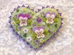 Hand beaded pansy felt pin by GlosterQueen on Etsy