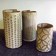 Gretchen Quinn Hand Built Pottery, Slab Pottery, Pottery Vase, Potted Plants, Plant Pots, Slab Ceramics, Clay Vase, Sgraffito, Creative Activities