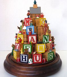 Childs Alphabet Wood Blocks Christmas Tree Mini Toys Hand Made Stand 11 in. Vtg