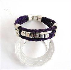 Purple leather bracelet cuff Bracelet / Manchette 3 rangs Bracelet Cuir, Cuff Bracelets, Purple Leather, Etsy, Jewelry, Fashion, Arm Cuffs, Unique Jewelry, Moda