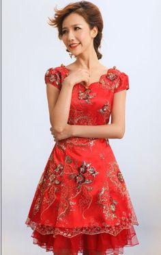 Wholesale Modern & Charming Short Sleeve Embroidery Slim Cheongsam----Red top dresses