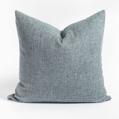 This stone blue pillow has a classic chambray look and a soft brushed texture. The subtle tonal flecks create a dimensional quality and gives it a a timeless, casual appeal. Modern Throw Pillows, Blue Pillows, Large Sofa, Pillow Inserts, Chambray, Swatch, Blue And White, Casual, Stuff To Buy