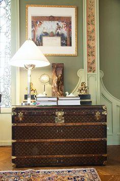 Vintage Louis Vuitton suitcase decor