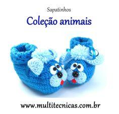 Sapatinho - Coleção bichos  Cachorro  Feito em crochê, com lã para bebê.  Cor: azul     Tamanho: 2 a 6 meses R$ 25,00
