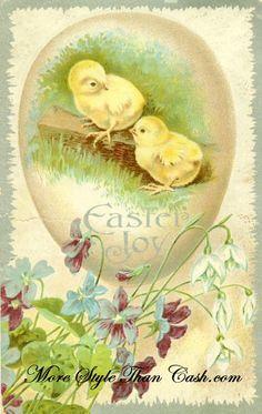 Easter Chicks Antique postcard