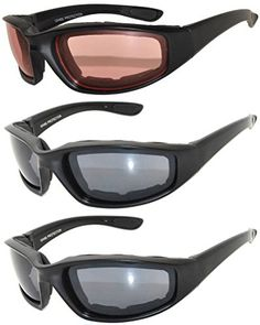 Set of 3 Pairs Black Motorcycle Padded Foam Glasses Amber Smoke Lens Owl *** Read more reviews of the product by visiting the link on the image.Note:It is affiliate link to Amazon.