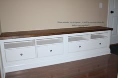 How to make a {Mudroom Bench} out of 2 TV Consoles.