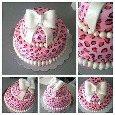 Leopard print cake for a baby shower