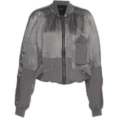 Haider Ackermann     Bomber Jacket ($1,575) ❤ liked on Polyvore featuring outerwear, jackets, tops, light grey, bomber jacket, flight jacket, blouson jacket, bomber style jacket and maiyet