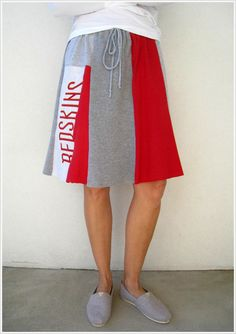 NEW...Washington Redskins T Shirt Skirt / Upcycled Tees / Red by ohzie
