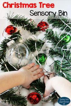 Your children are sure to love exploring the parts of a Christmas tree in this Christmas Tree Sensory Bin.