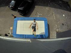 New extreme sport. Christophe Hammel demonstrating trampoline wall climbing.