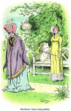 Lady Catherine de Bourgh challenges Elizabeth Bennet. Chapter 56 - C. E. Brock illustrations for Pride and Prejudice