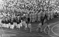 "Entrance of the All-German Team during the Opening Ceremonies of the Olympic Games in Melbourne (November 22, 1956)-However, the situation changed in 1955, when the IOC ""provisionally"" recognized the GDR's National Olympic Committee on the condition that an all-German Olympic team be formed. From a Western point of view, an all-German team was preferable to an independent GDR team, if only as the lesser of two evils, and in 1956 all-German teams competed in the Winter Games in Cortina…"
