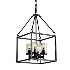 XILICON 4 Lights Foyer Chandelier Black Farmhouse Lantern Light Fixture Dining Room Lighting Fixtures Hanging Ceiling Lighting for Foyer Entryway with Glass Shade Adjustable Chain Copper Dining Room, Farmhouse Dining Room Lighting, Farmhouse Light Fixtures, Dining Room Light Fixtures, Pendant Light Fixtures, Foyer Chandelier, Lantern Chandelier, Black Chandelier, Copper Pendant Lights