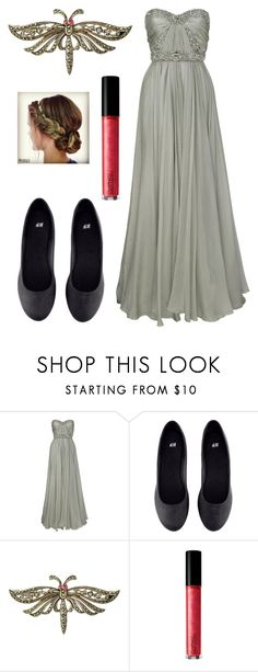 """""""les mis modern-barricade boys as girls - gowns - Combeferre"""" by meta009 ❤ liked on Polyvore featuring Marchesa, H&M, Sharon Mills, MAC Cosmetics, modern, LesMiserables and Combeferre"""