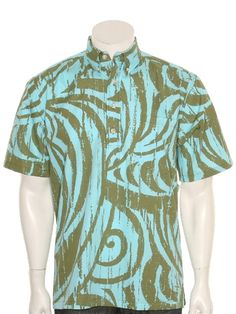 d500b27dd4f3 Hilo Hattie Haleiwa Walls Aqua   Olive Cotton Men s Pull over Hawaiian Shirt