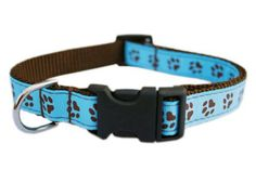 Sassy Dog Wear 10-14-Inch Blue/Brown Puppy Paws Dog Collar, Small - http://www.thepuppy.org/sassy-dog-wear-10-14-inch-bluebrown-puppy-paws-dog-collar-small/