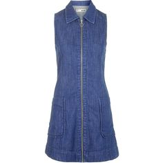 TOPSHOP MOTO Denim Zip Front Dress ($70) ❤ liked on Polyvore featuring dresses, topshop, mid stone, blue dress, full length dress, blue denim dress, zip front dress and denim summer dress