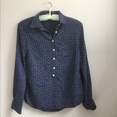 Blue Print Shirt Gorgeous cobalt blue popover style blouse. Rayon with silk feel. No tag but should fit size small. Tops