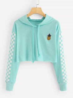 Angie Pineapple Checkered Crop Top Hoodie in Mint Turquoise - . - Angie Pineapple Checkered Crop Top Hoodie in Mint Turquoise – # - Teenage Outfits, Teen Fashion Outfits, Trendy Outfits, Girl Outfits, Fashion Women, Outfits For Teens For School, Cute Clothes For Teens, Cute Teen Outfits, Style Fashion