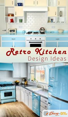 Retro kitchens never go out of style. If you add a modern twist, you'll have a timeless kitchen with a boatload of personality. Click through to find more retro kitchen design ideas. #DiaryofaDIYer http://www.diaryofadiyer.com/content/throwback-thursday-retro-kitchen-design-ideas
