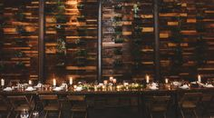 Brooklyn Winery's succulent wall is the backdrop for wedding dinners.