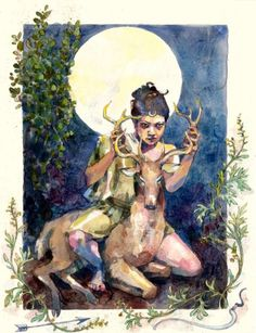 Contemporary painting of Artemis, Goddess of the Hunt, by Joanna Barnum. Artemis is one of the most venerated Ancient Greek goddesses. She is Goddess of the Hunt and the Moon, and She valued Her own Chastity greatly. She assisted Her own Mother's Birth of Her Twin, Apollo. Because of this, She is also a Goddess of Childbirth. She is a daughter of Zeus and the Titan Leto, and a Protectress of Maidens, Women in Childbirth, the Forest and all who inhabit it.