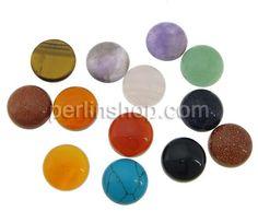 Edelstein Cabochons, Dom, flache Rückseite, gemischte Farben, 12x4.80mm